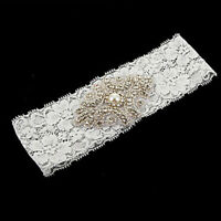 Bridal Vintage Crystal Pearl Wedding Garter White Lace Bride Prom Hen Party DL5