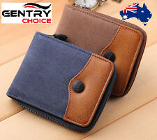 Men Women Bifold Zipper Closure Coin Card Holder Canvas and Leather Wallet