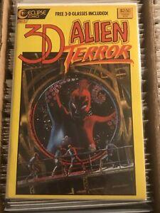 3D ALIEN TERROR #1 ECLIPSE COMICS 1986 vintage sci-fi action adventure octopus