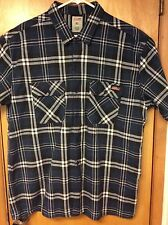 DICKIES, Blue & White Plaid Short Sleeve Cotton Shirt w Double Front Pockets, XL