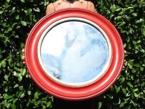 Vintage Mirror Round Patina Red & Silver Modern Antiques Design 1970