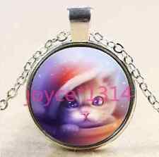 Vintage Christmas Cat Cabochon Tibetan silver Glass Chain Pendant Necklace #2519
