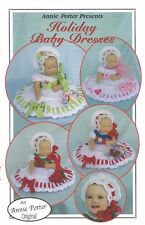 "Holiday Baby Dresses Annie Potter 0-12 mths or 21"" Dolls Crochet Patterns NEW"