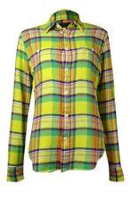 Polo Ralph Lauren Womens Plaid 100 Cotton Shirt Size 6 Yellow Green