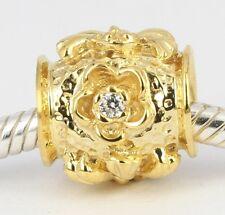 SOLID 9CT 9K YELLOW GOLD Cz Flower Plant BEAD For Charm Bracelet / Necklace AUS