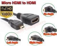 90° Degree Angle Micro HDMI Male to HDMI Female Adapter Cable 1080P HD HDTV 4K