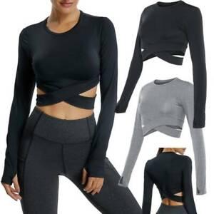 Women Long Sleeve Yoga Top Crop Long Sleeve Shirt Sports Fitness Workout T-Shirt