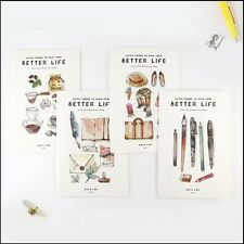 """""""Better Life"""" Exercise Book Pack of 4 Lined Study Notebook Journal Cute Notepad"""