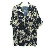 "Hilo Hattie 3XL Womens Top 58"" Bust Hawaiian Camp Shirt Blue Floral Plus Size"