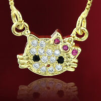 24K GOLD GF GIRLS KIDS CAT HELLO KITTY CRYSTALS NECKLACE BOX CHAIN PENDANT GIFT