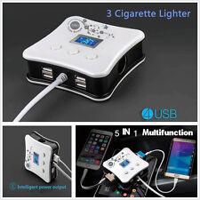 12V/24V Multifuction Socket 3 Cigarette Lighter Chargers & 4 USB Plug Charger