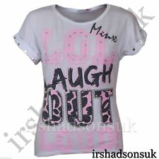 "NEW niña "" LOL Laugh pierdas Chillón! ""Estampado Estilo Moderno, Top Camiseta"