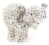 Silver Rhinestone Elephant Jewelry Trinket Box Gift Animal Figurine Decoration