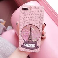 Dynamic Quicksand Sequins Eiffel Tower Phone Case Cover For iPhone 6S/7/8/X Plus