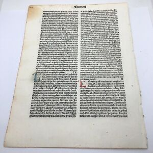 RARE 1487 Incunable Early Bible Leaf From Numbers - Manuscript Codex Paper A