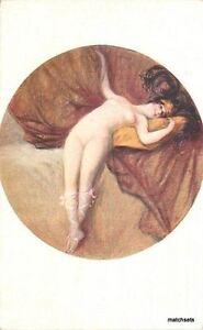 C-1910 Reclining Nude woman head dress interior Frame like postcard 8596