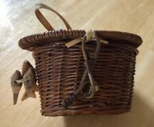 Vintage Miniature Wicker Fishing Creel Basket with mini wooden fishes