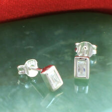 925 Sterling Silver Rectangle Stud Earrings With Cubic Zirconia