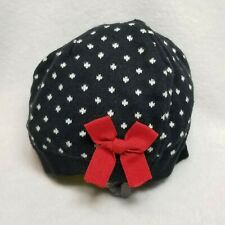 Carter's Baby Girl Size 3-9 Month Navy Beret Style Cap Red Bow Hat