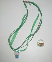 Lot Bague + Collier Pendentif Vert & Bleu NEUF