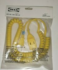 OLDER IKEA RIGHT YELLOW COILED EXTENSION CORD SEALED PACKAGE 3 OUTLET POLARIZED