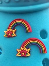 2 Rainbow Shoe Charms For Crocs and Jibbitz Wristbands. Free UK P&P.