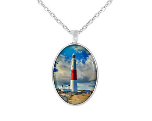 Portland Bill Lighthouse Art Large Oval Pendant Necklace Silver 24 In Chain New