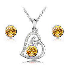 Crystal Jewelry Elements Yellow Heart Shaped Neckless With Earrings Diamond