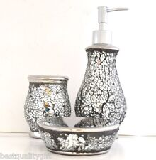 New Silver Gl Mirror Mosaic Bathroom Soap Dispenser Dish Toothbrush Holder