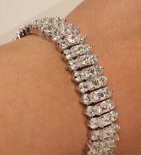 18K Three-rows White Gold Finish Diamond Tennis Bracelet 2Ct Women Wedding Gift