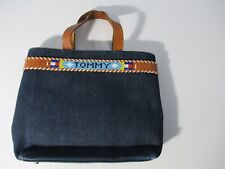 TOMMY HILFIGER Purse Hand Bag Womens Leather Strap Denim Beaded Magnet Clasp