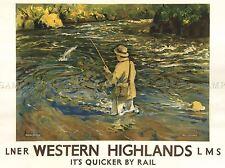 Viajes de pesca occidentales Tierras Altas de Escocia arte cartel impresión lv4037