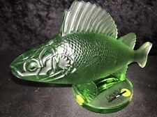 LALIQUE RARE GREEN PERCH FISH WITH ORIGINAL BOX PERFECT