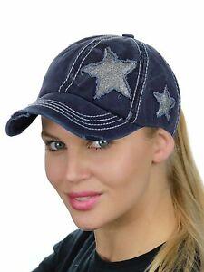 C.C Ponycap Messy High Bun Ponytail Adjustable Glitter Star Distressed Baseball