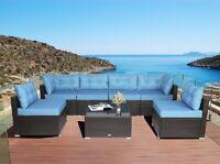 7 Pcs Rattan Chair Wicker Set,Outdoor Indoor Use Garden Furniture Sky Blue