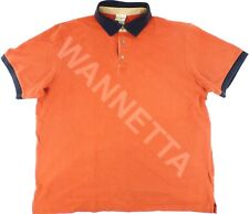 Men's LL Bean Polo Shirt Size XL Reg Orange w/Contrasting Collar Cotton Pre-Own
