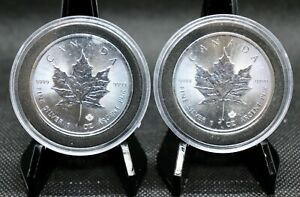 2016 and 2017 Canada Maple Leaf $5 Coin .9999 One Ounce Fine Silver (Lot of 2)