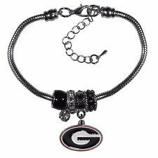 """Georgia Bulldogs Euro Bead Bracelet Silver Tone 7.5"""" - 9"""" Snake Chain"""