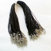 """20pcs 1.5mm Black Real Genuine Leather Cord Clasps rope chain necklace 18"""" R191"""