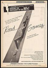 ROAD GAMES__Original 1980 Cannes Trade AD / poster_movie promo__JAMIE LEE CURTIS
