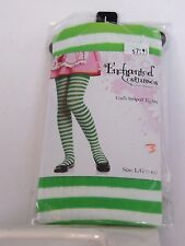 Size Large Green White Striped Girls Tights Enchanted Costumes Halloween Party