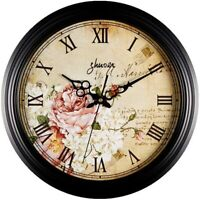 """SALE! Retro Vintage 12"""" Wall Clock Flowers Floral Silent for Office Home Kitchen"""
