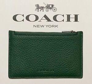 NWT Coach C4280 Men's Zip Card Coin Case Wallet Pebbled Leather Dark Clover