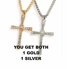 Fast and Furious Vin Diesel Toretto's Gold Cross Pendant Necklace Rhinestone