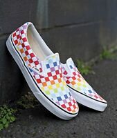 New Vans Authentic Unisex Slip-On Rainbow Pride Checkerboard Skate Shoes
