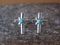 Navajo Jewelry Sterling Silver Turquoise Cross Post Earrings by Lorraine Chee