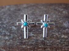 Navajo Jewelry Sterling Silver Turquoise Cross Post Earrings by Lorraine Chee