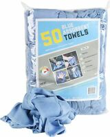 Bag of 50 Huck Cleaning Towels - 14 x 24 Cotton Reusable Blue Drying Cloth Rags