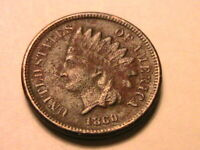 1860 Indian Head Cent Very Fine (VF) Crusty Original Brown US Small Penny Coin