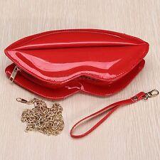 Fashion Women Lady Patent Leather Lip Evening Party Clutch Shouder Purse Handbag